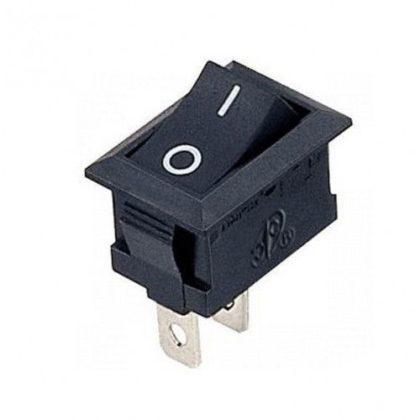 Выключатель клавишный 250V 3А (2с) ON-OFF черный  Micro
