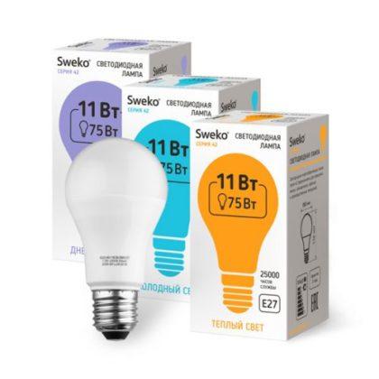 Лампа светодиодная Sweko A60-11W-230-3000K-E27